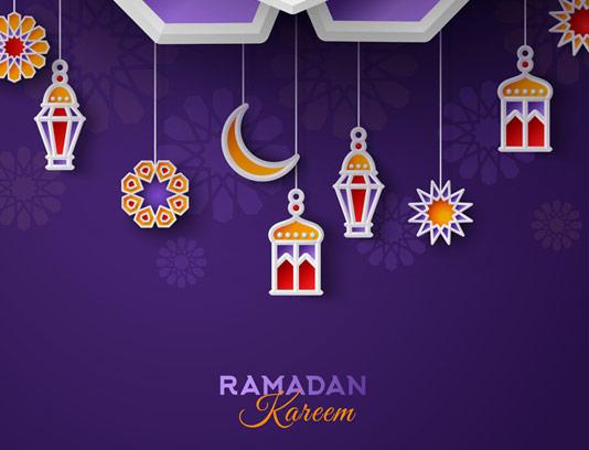 وکتور طرح لایه باز بکگراند ماه مبارک رمضان