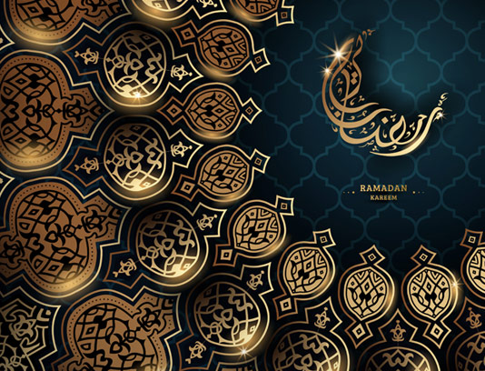 وکتور پس زمینه اسلیمی با خوشنویسی رمضان کریم