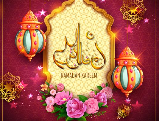 وکتور طرح ماه رمضان با المان های گل و فانوس