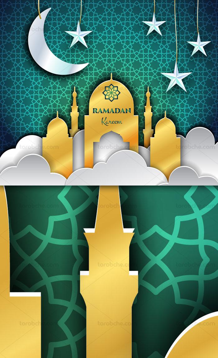وکتور طرح رمضان کریم با پس زمینه پترن اسلامی و مسجد طلایی