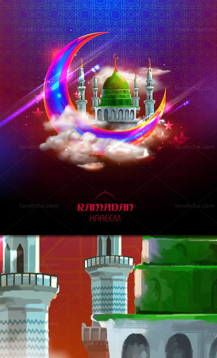 وکتور طرح ماه رمضان با حلال ماه و مسجد النبی