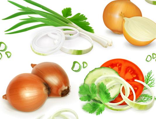 وکتور طرح سبزیجات پیاز، موسیر، پیازچه، گوجه