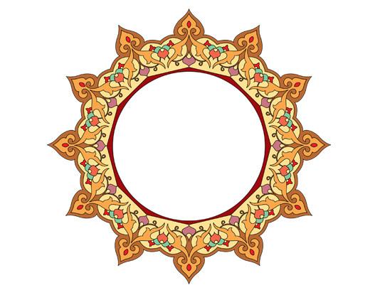 وکتور طرح نماد و المان اسلامی شمسه شماره ۰۳