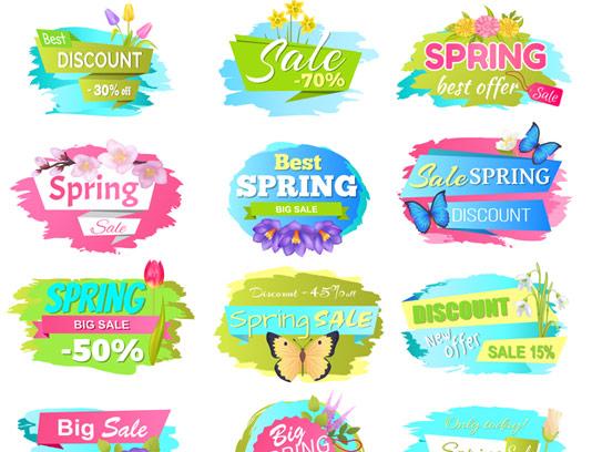 وکتور بنرهای فروش محصول بهاری با گل و بته