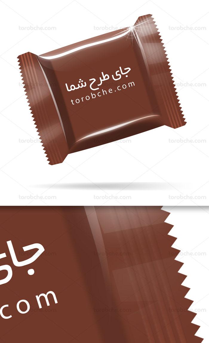 طرح لایه باز موکاپ بسته بندی شکلات مربعی