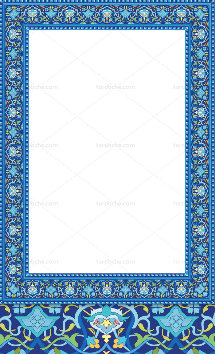 وکتور کادر و حاشیه اسلیمی آبی رنگ
