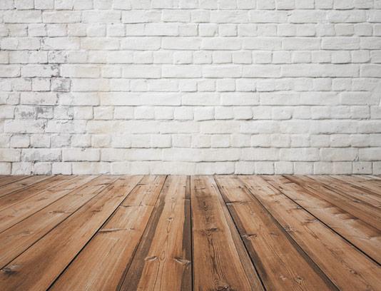 تکسچر و بکگراند زمینه چوبی با دیوار آجری سفید