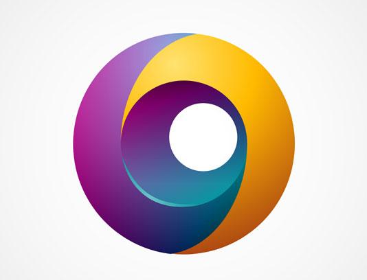 وکتور طرح لوگوی دورانی انتزاعی رنگارنگ