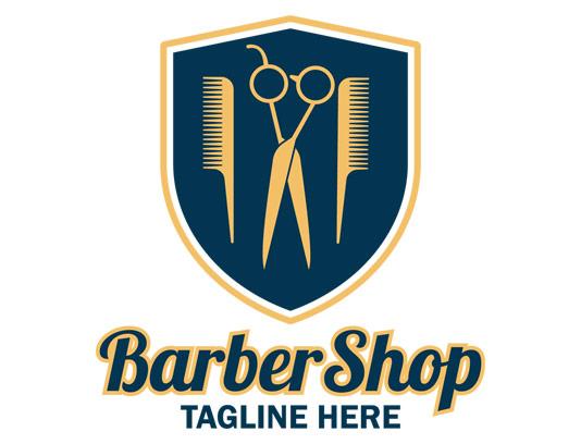 وکتور طرح لوگوی آرایشگاه مردانه با شانه و قیچی