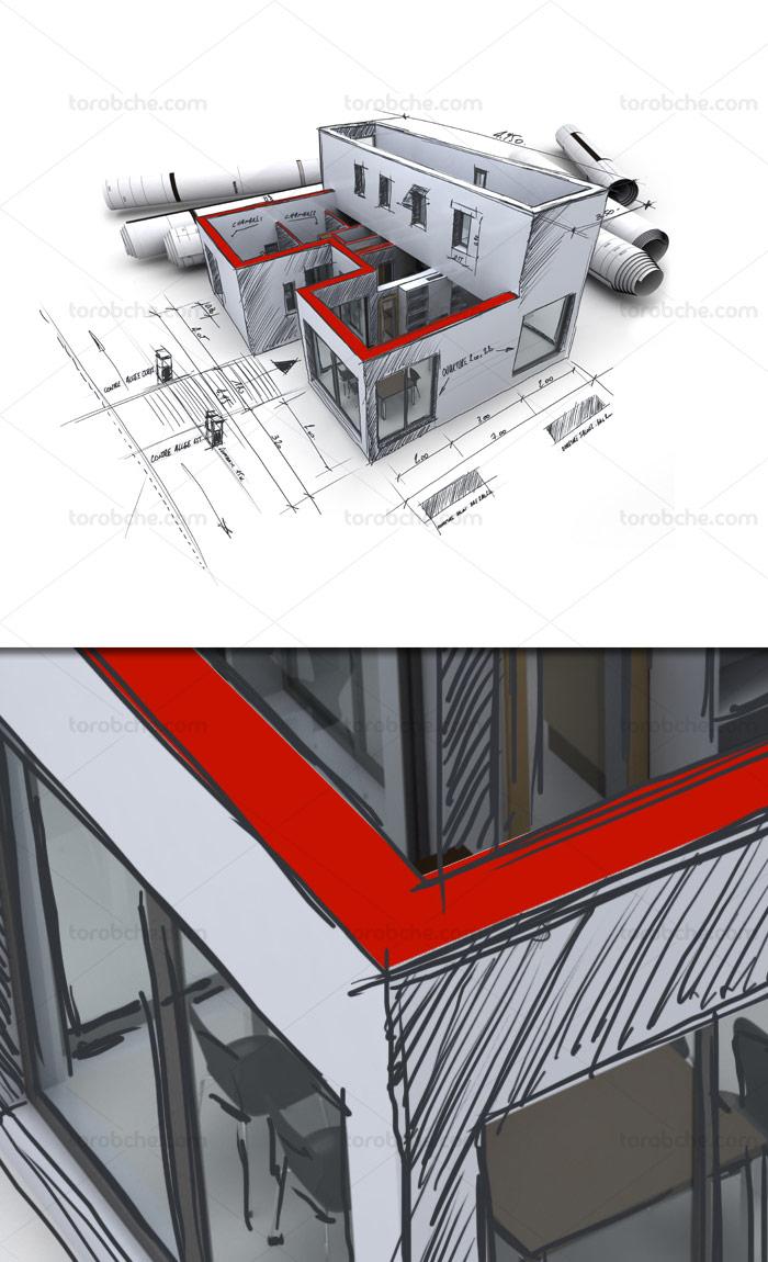 عکس با کیفیت نقشه ساخت و ساز ساختمان با ماکت سه بعدی