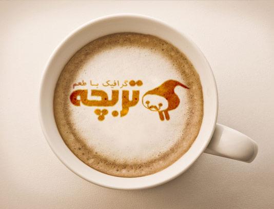طرح لایه باز موکاپ لوگوی کافی شاپ روی فنجان شیر قهوه