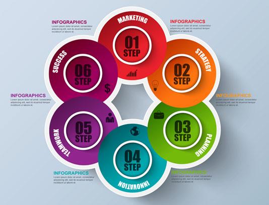 وکتور طرح المان اینفوگرافیک شش مرحله ای کسب و کار