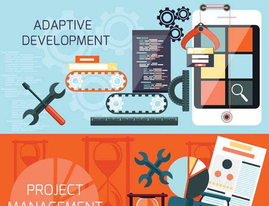 وکتور طرح فلت مفهومی مدیریت پروژه و و توسعه کسب و کار