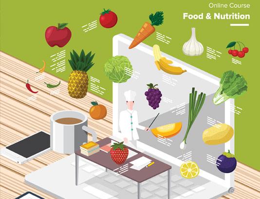 وکتور فلت سه بعدی آموزش آشپزی آنلاین