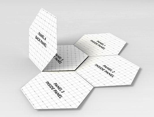 طرح لایه باز موکاپ بروشور شش ضلعی حرفه ای