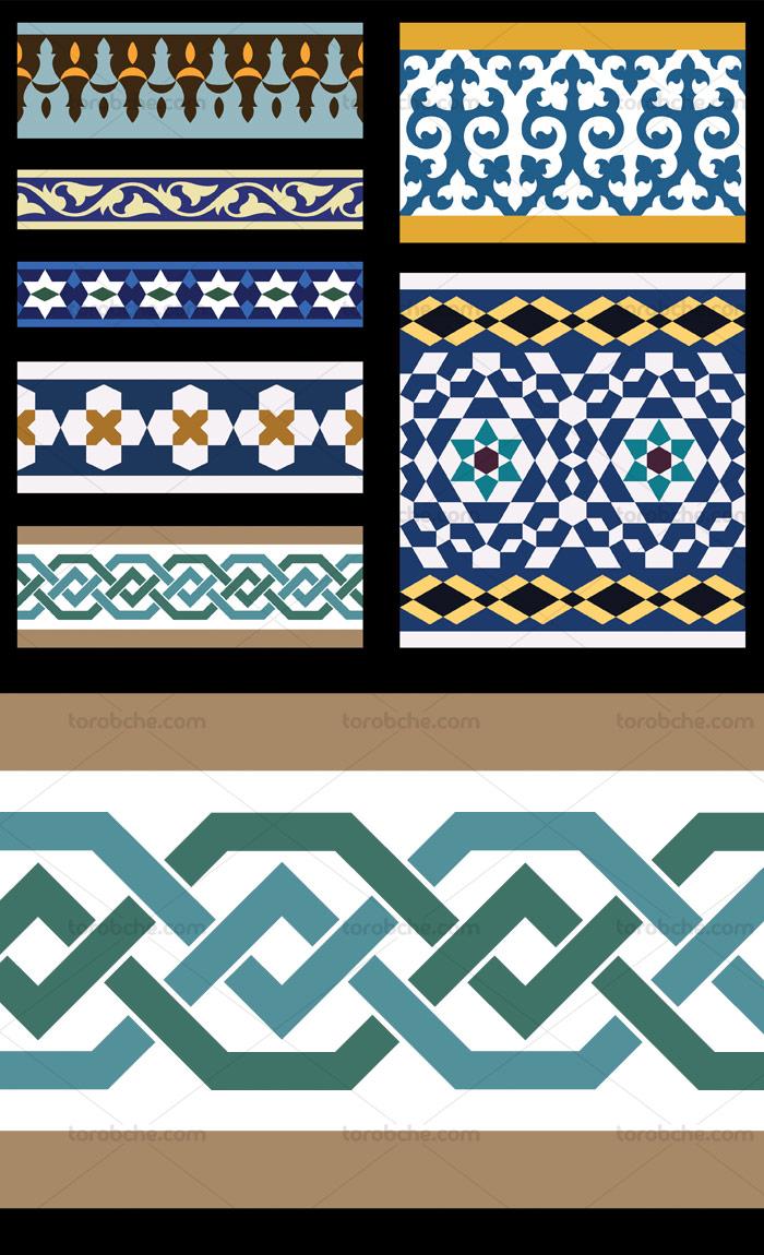 وکتور طرح کاشی کاری اسلامی شماره ۱۹۰