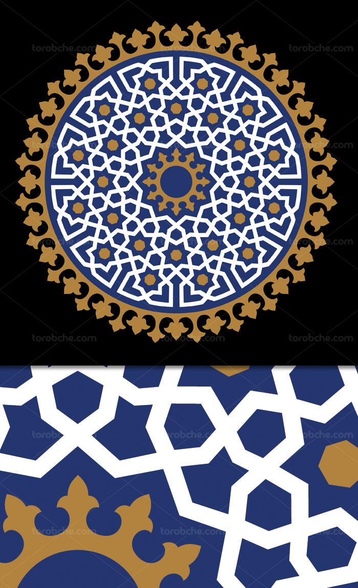 وکتور طرح کاشی کاری اسلامی شماره ۱۹۹