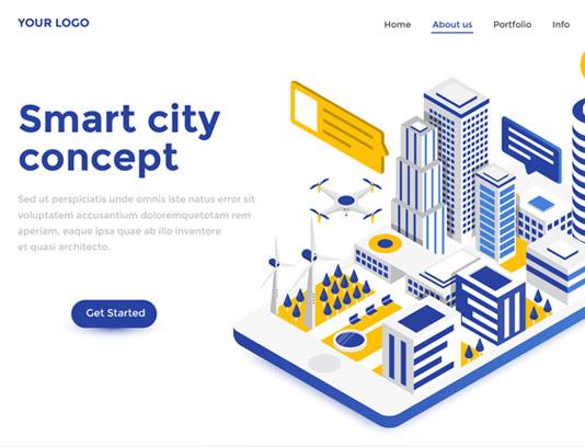وکتور طرح مفهومی ایزومتریک شهر هوشمند و مدرن
