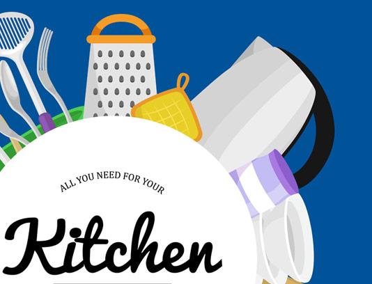 وکتور طرح مجموعه لوازم آشپزخانه و آشپزی