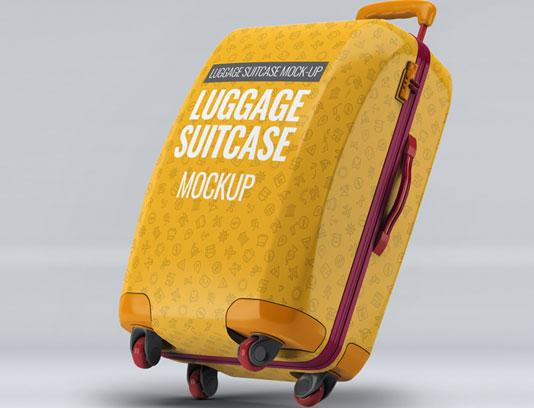 طرح لایه باز موکاپ چمدان ایستاده PSD