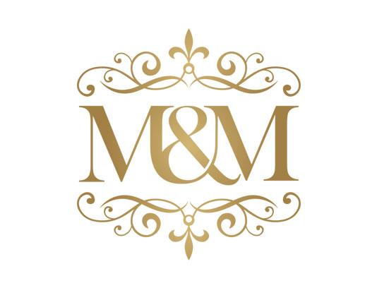 وکتور طرح لوگوی لاکچری طلایی رنگ M&M