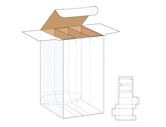 وکتور طرح صفحه گسترده و خط برش بسته بندی مستطیلی با جداکننده