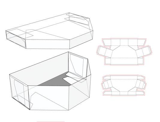 وکتور طرح صفحه گسترده و خط برش بسته بندی جعبه با درب