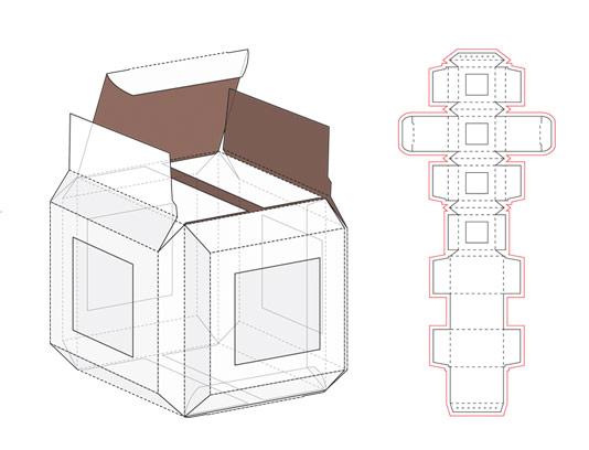 وکتور طرح صفحه گسترده بسته بندی جعبه مکعب