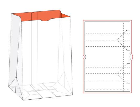 وکتور طرح بسته بندی و خط برش پاکت کاغذی