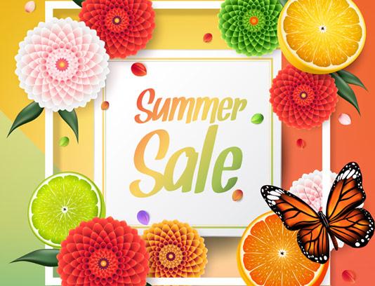 وکتور طرح بنر فروش تابستانه با گل های رنگی