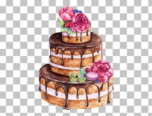 عکس با کیفیت دوربری شده کیک شکلاتی سه طبقه