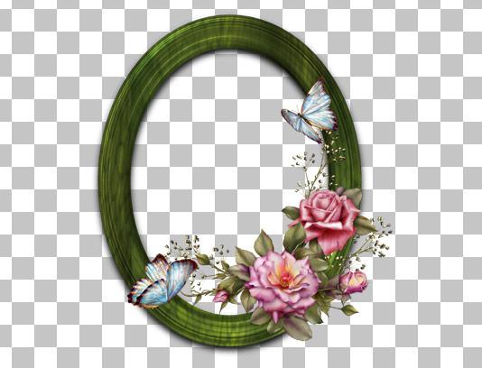 عکس دوربری شده قاب چوبی بیضی با گل و پروانه