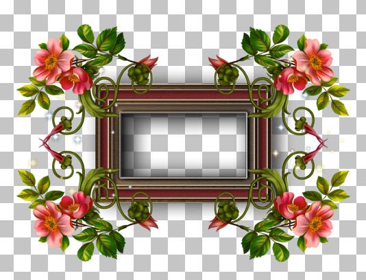عکس دوربری شده قاب عکس با گل و بته قرمز
