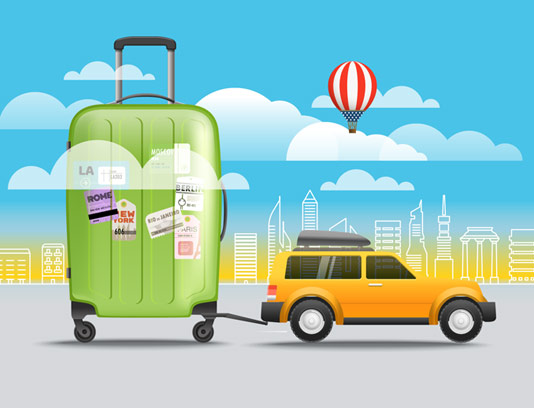 وکتور طرح تور مسافرتی، اتومبیل و چمدان