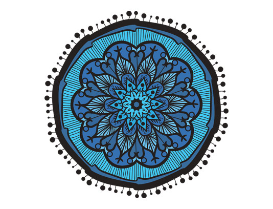 وکتور طرح سنتی فرش، قالیچه و گلیم آبی رنگ