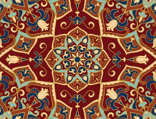 وکتور طرح پترن و پس زمینه با نقوش سنتی فرش