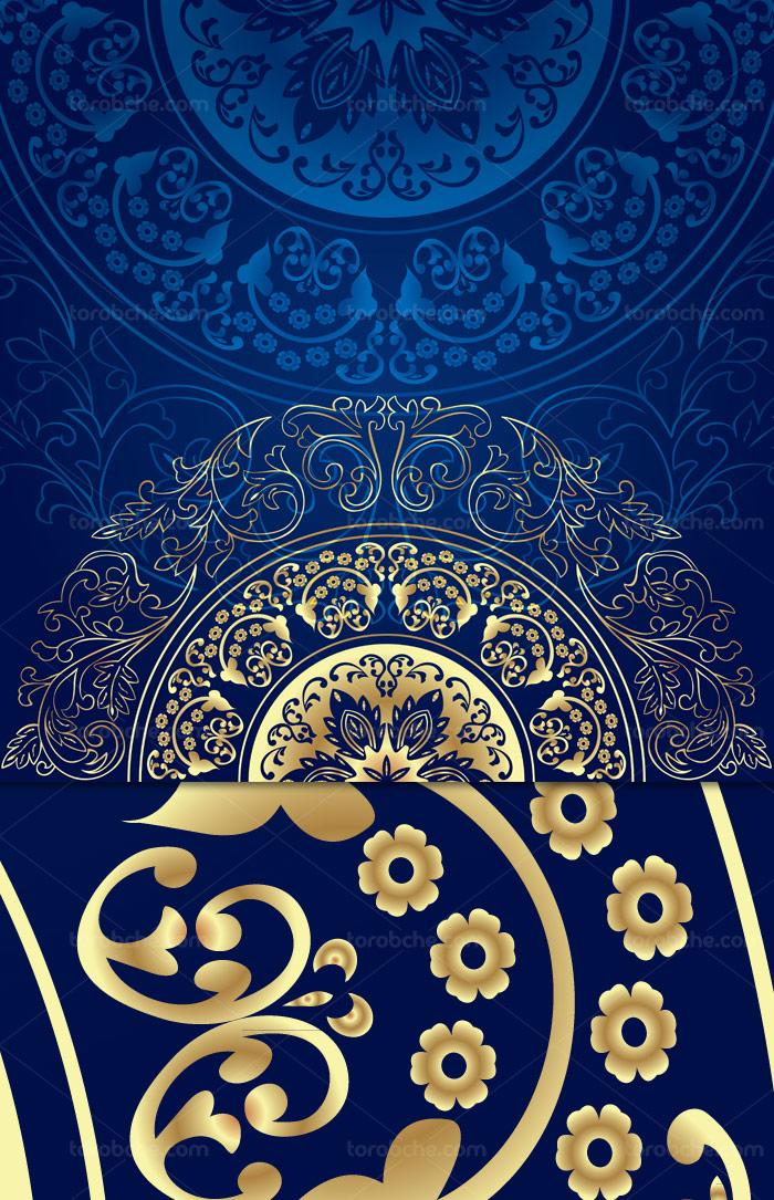 وکتور طرح بکگراند سنتی و تزئینی آبی و طلایی رنگ