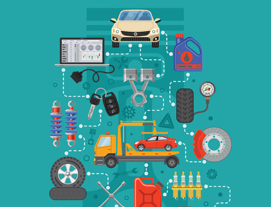 وکتور طرح مفهومی تعمیرات اتومبیل فلت