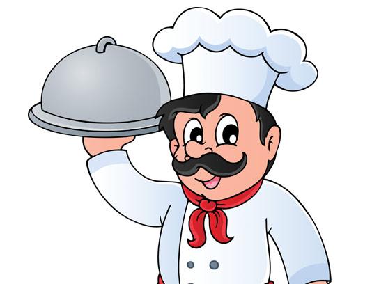 وکتور کاراکتر سرآشپز مرد با کلاه آشپزی و ظرف غذا