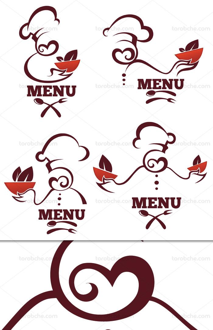 وکتور طرح لوگو و کاراکتر سرآشپز و رستوران
