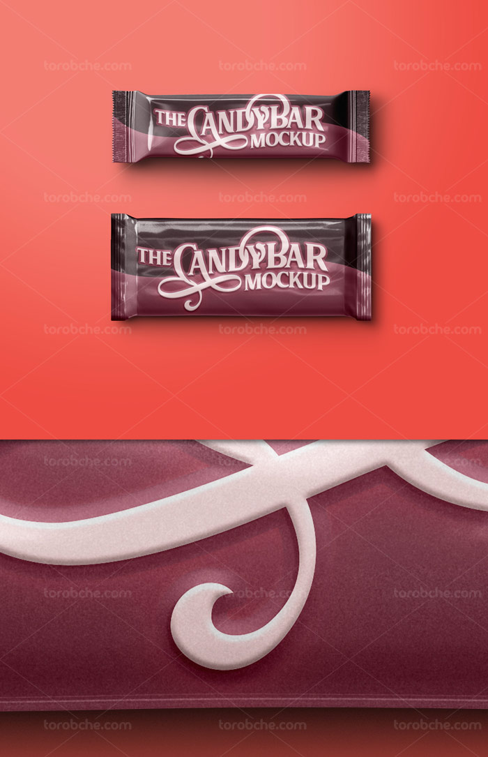 طرح لایه باز موکاپ بسته بندی شکلات کارامل دار