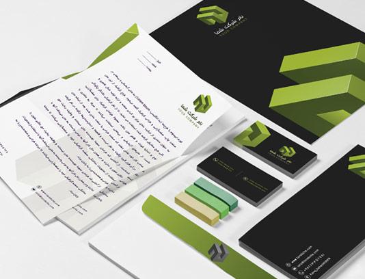 طرح لایه باز ست اداری شرکتی حرفه ای مکعب سبز