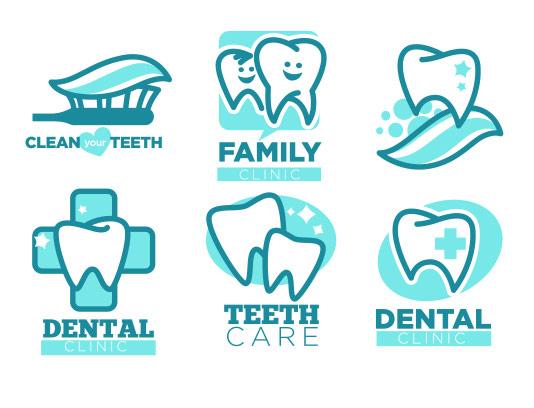 وکتور لوگو های مراقبت از دندان و کلینیک دندان پزشکی و ابزار های آن