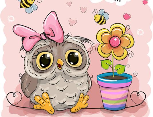 وکتور کارتونی جغد فانتزی، گلدان و زنبور