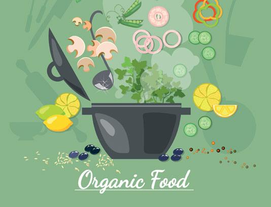 وکتور طرح تهیه غذای ارگانیک و سالم به صورت فلت