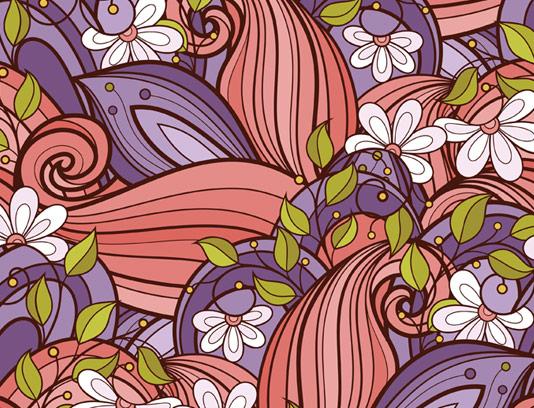 وکتور طرح بکگراند گل و بته زینتی به صورت پترن