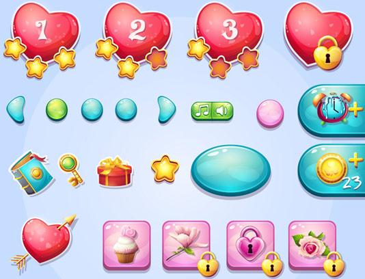 وکتور طرح المان های رابط کاربری طراحی بازی شماره ۰۶