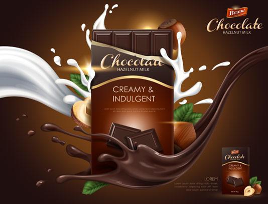 وکتور طرح تبلیغاتی لایه باز شکلات تخته ای فندقی