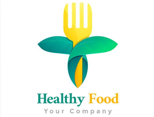 وکتور طرح مفهومی لوگوی غذای سالم و ارگانیک