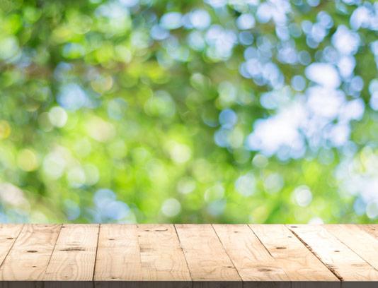 بکگراند استیج میز چوبی با زمینه طبیعت سرسبز